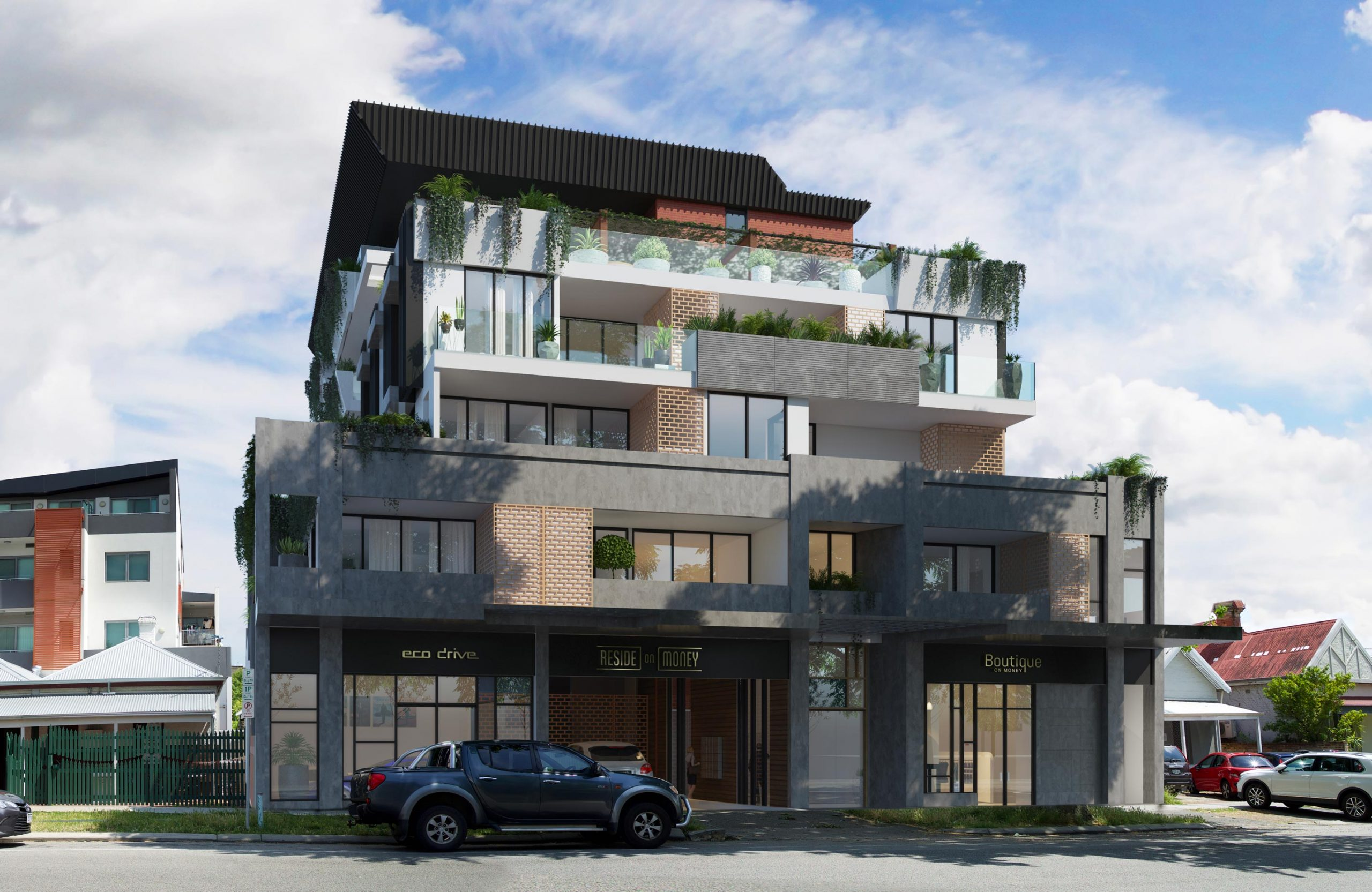 5 storey apartment building with vegetation and screens in Northbridge in daylight