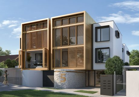 3 Storey small apartment building with bronze louvre cladding in Cottesloe