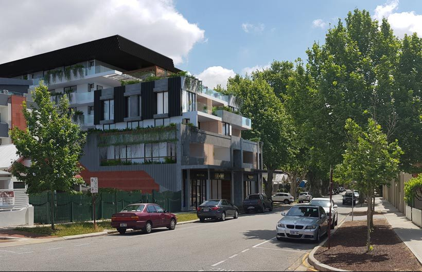 streetscape panorama of 5 storey black, white, and grey, apartment building with vegetation and screens in Northbridge in daylight