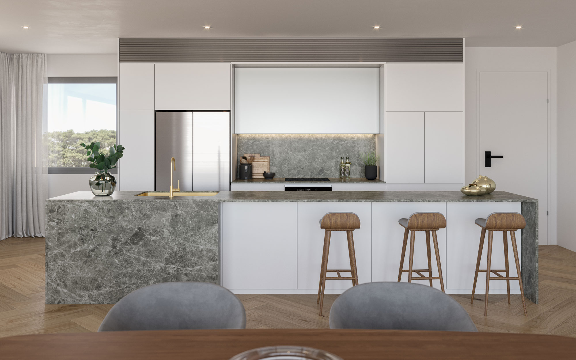Modern kitchen with marbled island bench, white cabinets, and timber parquetry flooring in Elizabeth Residences Cottesloe Apartments
