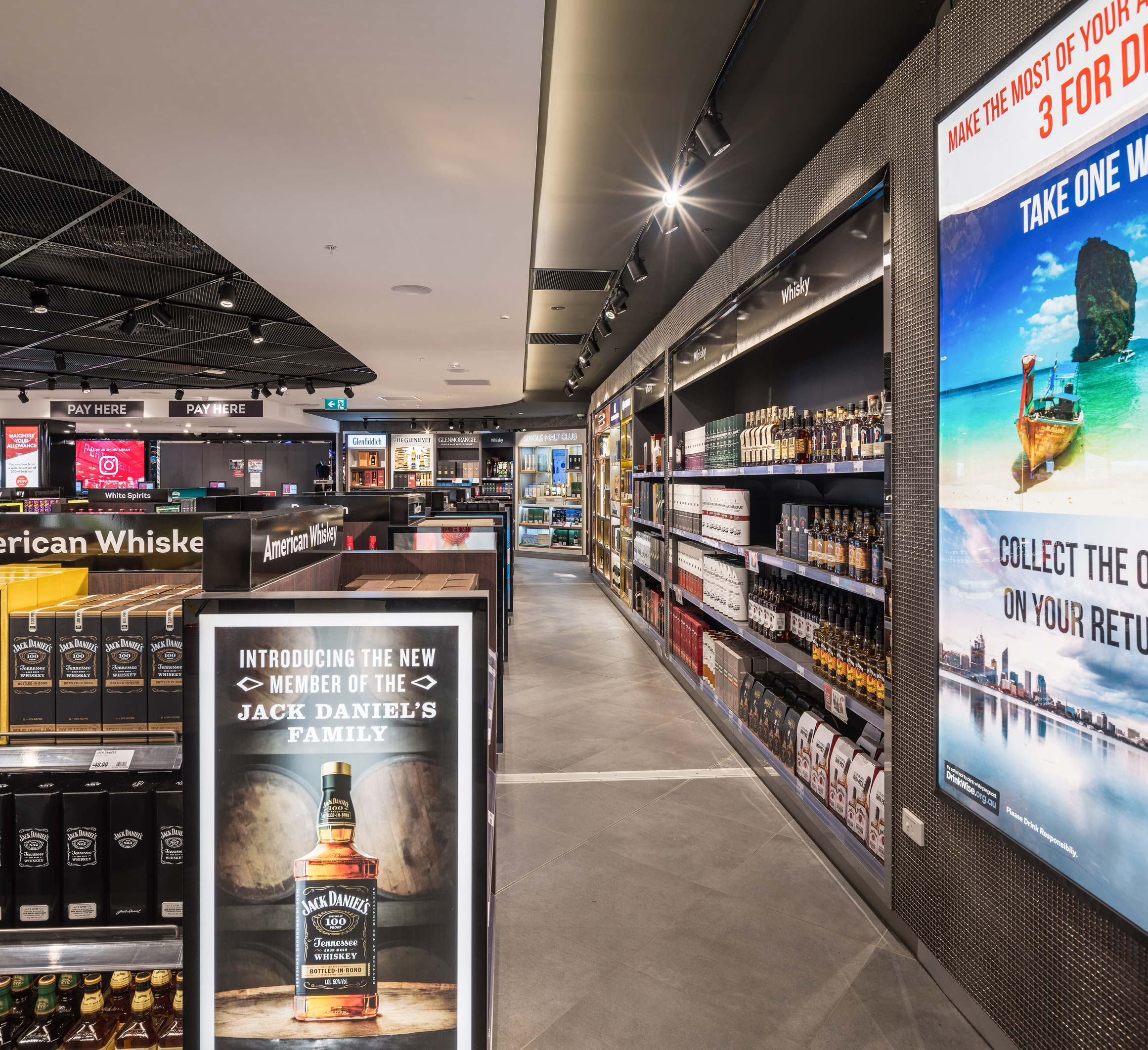 Liquor retail stands at Perth International Airport Duty Free