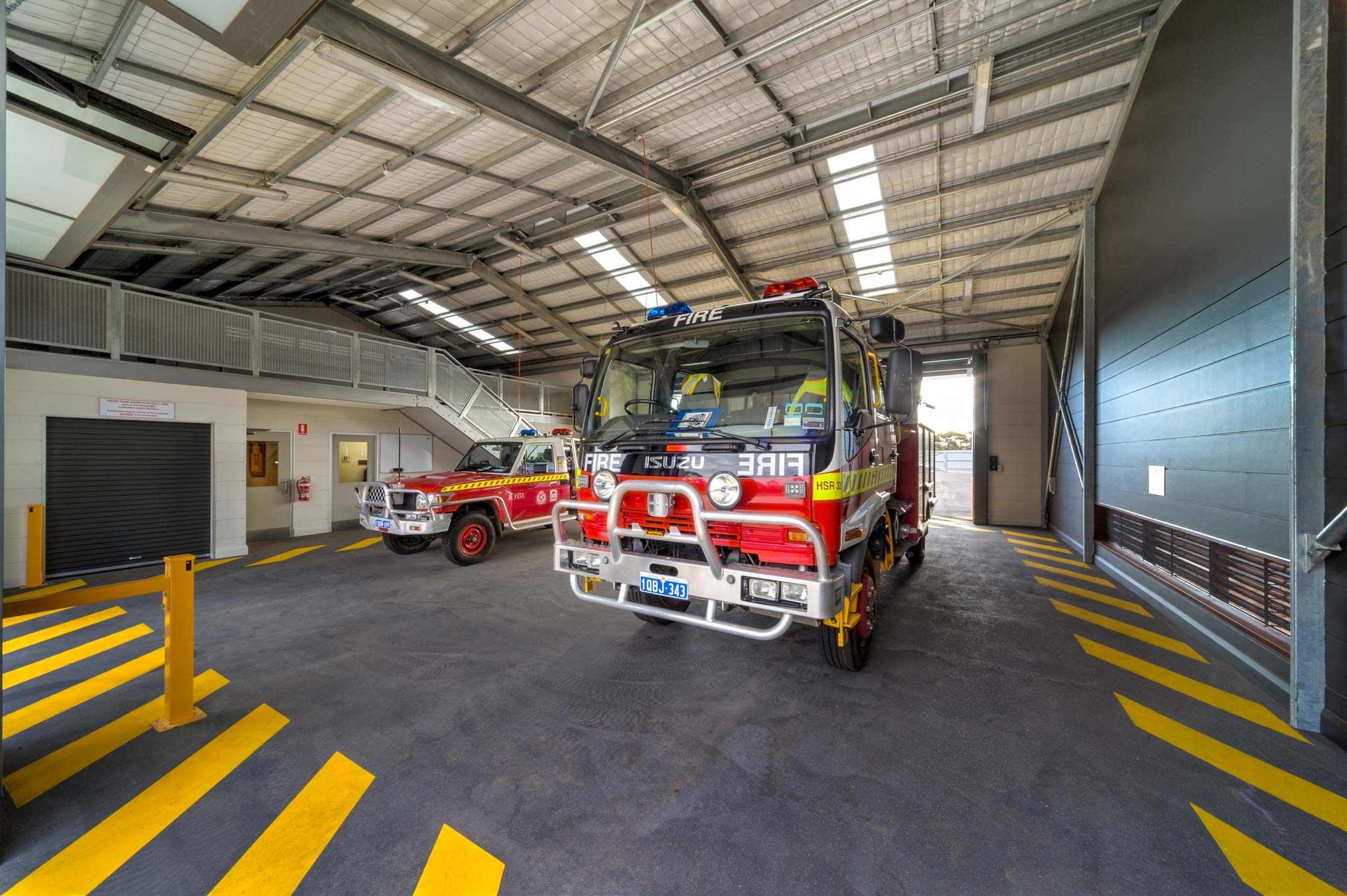Fire engines parked in fire station in Kambalda