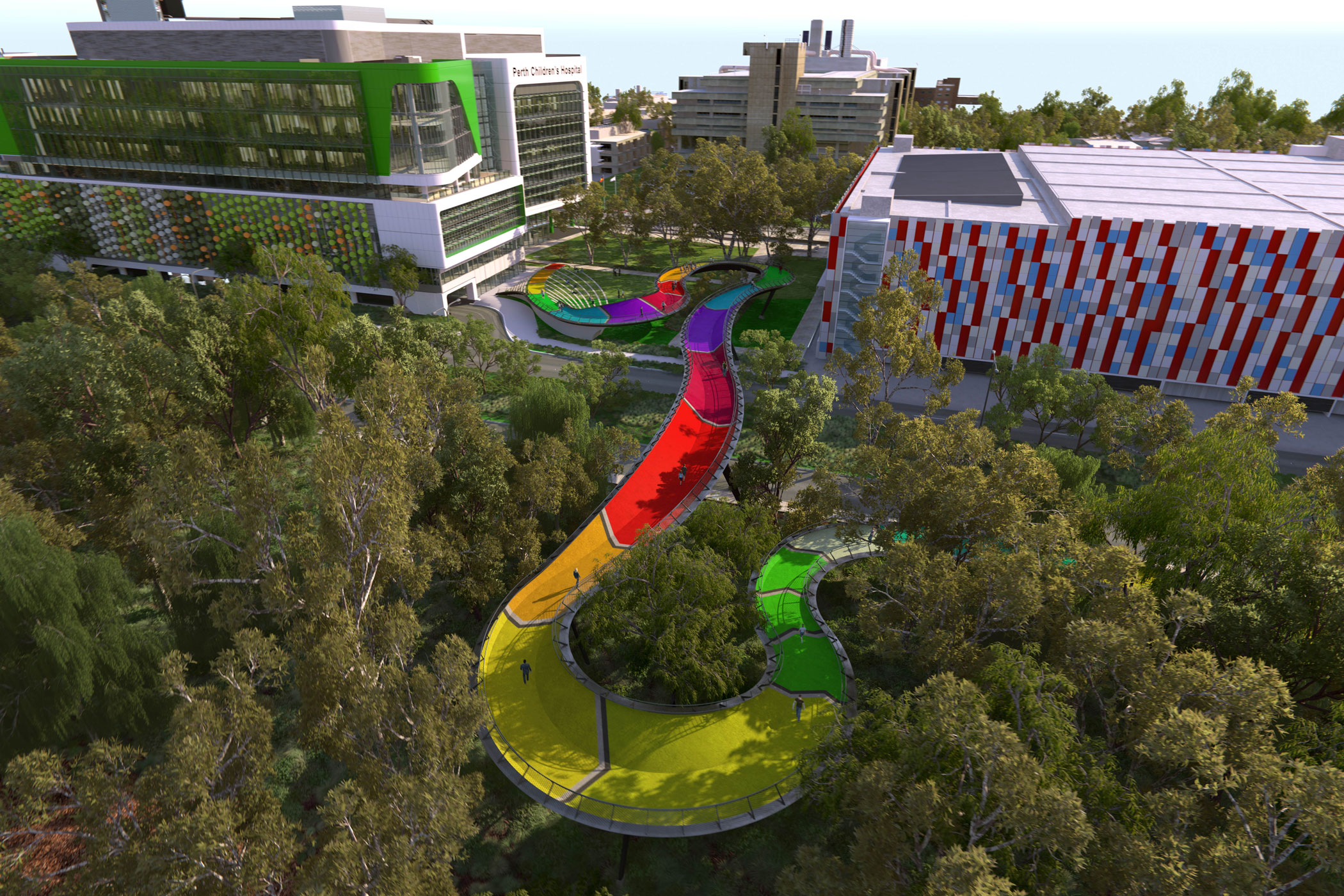 Rainbow coloured curvy pedestrian bridge connects the new Perth Children's Hospital to Kings Park above the road