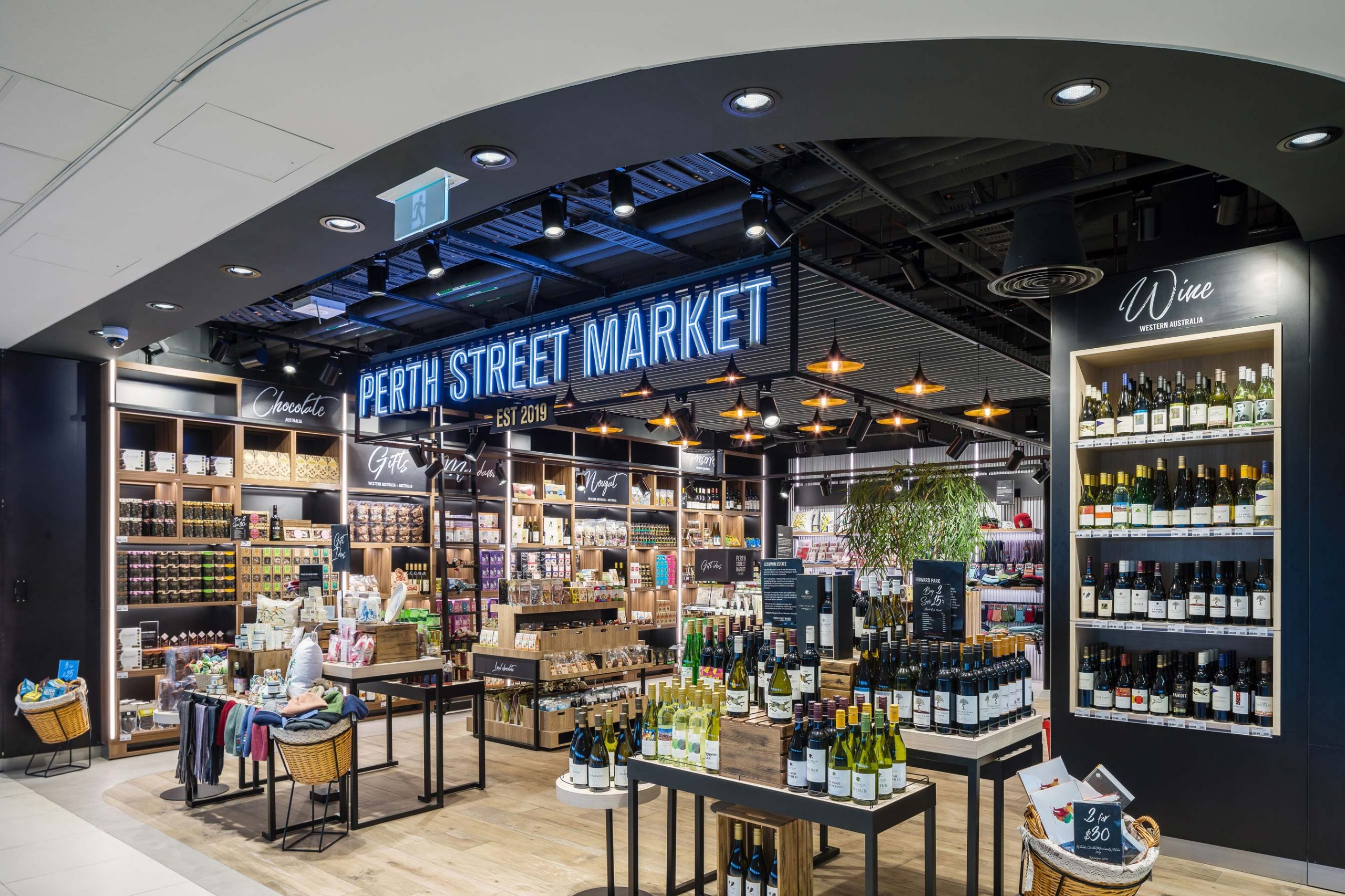 Australian themed Duty Free shop at Perth International Airport with neon sign Perth Street Market